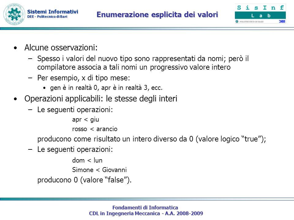 Sistemi Informativi DEE - Politecnico di Bari Fondamenti di Informatica CDL in Ingegneria Meccanica - A.A. 2008-2009 Enumerazione esplicita dei valori