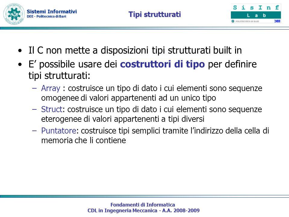 Sistemi Informativi DEE - Politecnico di Bari Fondamenti di Informatica CDL in Ingegneria Meccanica - A.A. 2008-2009 Tipi strutturati Il C non mette a