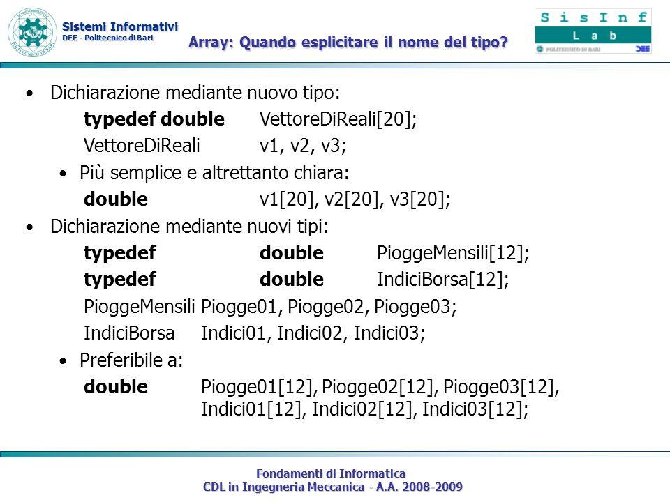 Sistemi Informativi DEE - Politecnico di Bari Fondamenti di Informatica CDL in Ingegneria Meccanica - A.A. 2008-2009 Dichiarazione mediante nuovo tipo