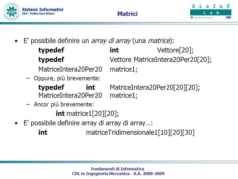 Sistemi Informativi DEE - Politecnico di Bari Fondamenti di Informatica CDL in Ingegneria Meccanica - A.A. 2008-2009 Matrici E possibile definire un a