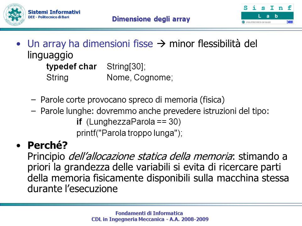 Sistemi Informativi DEE - Politecnico di Bari Fondamenti di Informatica CDL in Ingegneria Meccanica - A.A. 2008-2009 Dimensione degli array Un array h