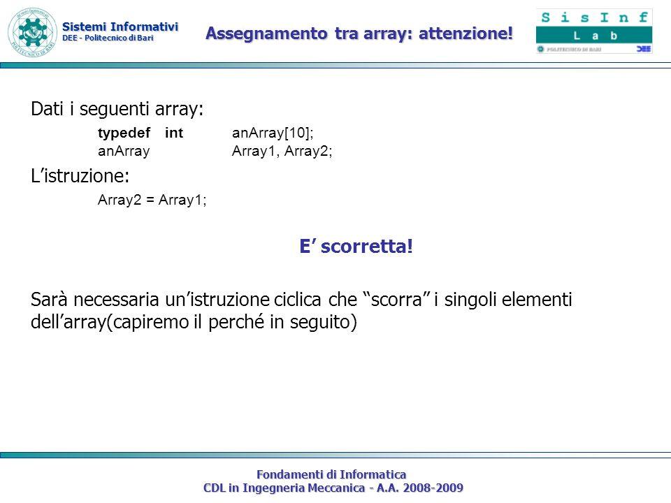 Sistemi Informativi DEE - Politecnico di Bari Fondamenti di Informatica CDL in Ingegneria Meccanica - A.A. 2008-2009 Assegnamento tra array: attenzion