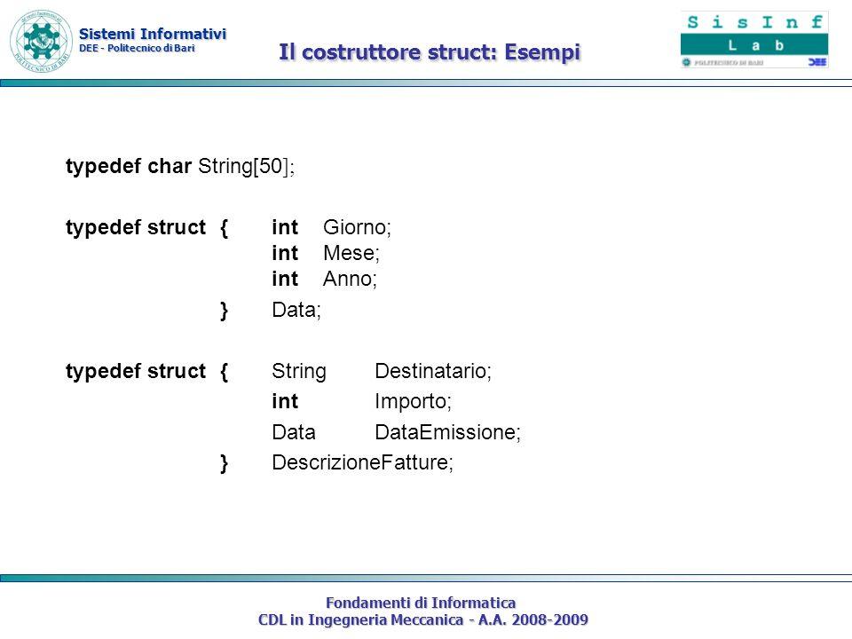 Sistemi Informativi DEE - Politecnico di Bari Fondamenti di Informatica CDL in Ingegneria Meccanica - A.A. 2008-2009 typedef char String[50 ]; typedef