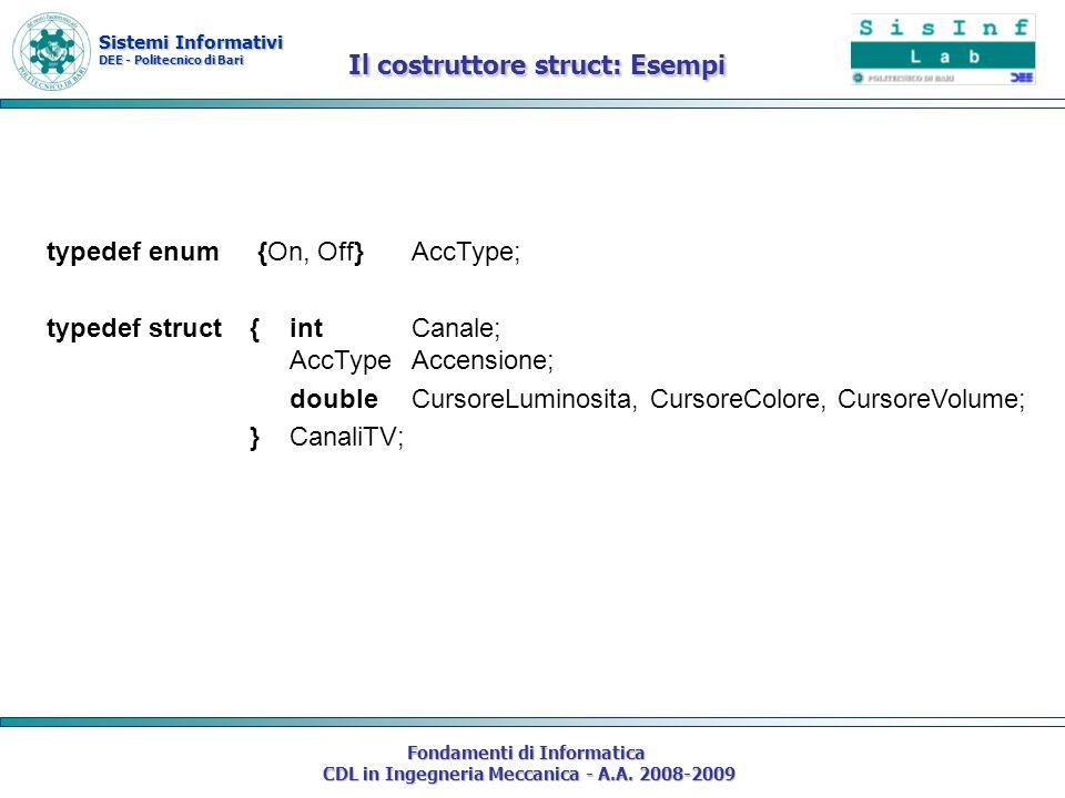 Sistemi Informativi DEE - Politecnico di Bari Fondamenti di Informatica CDL in Ingegneria Meccanica - A.A. 2008-2009 typedef enum {On, Off} AccType; t