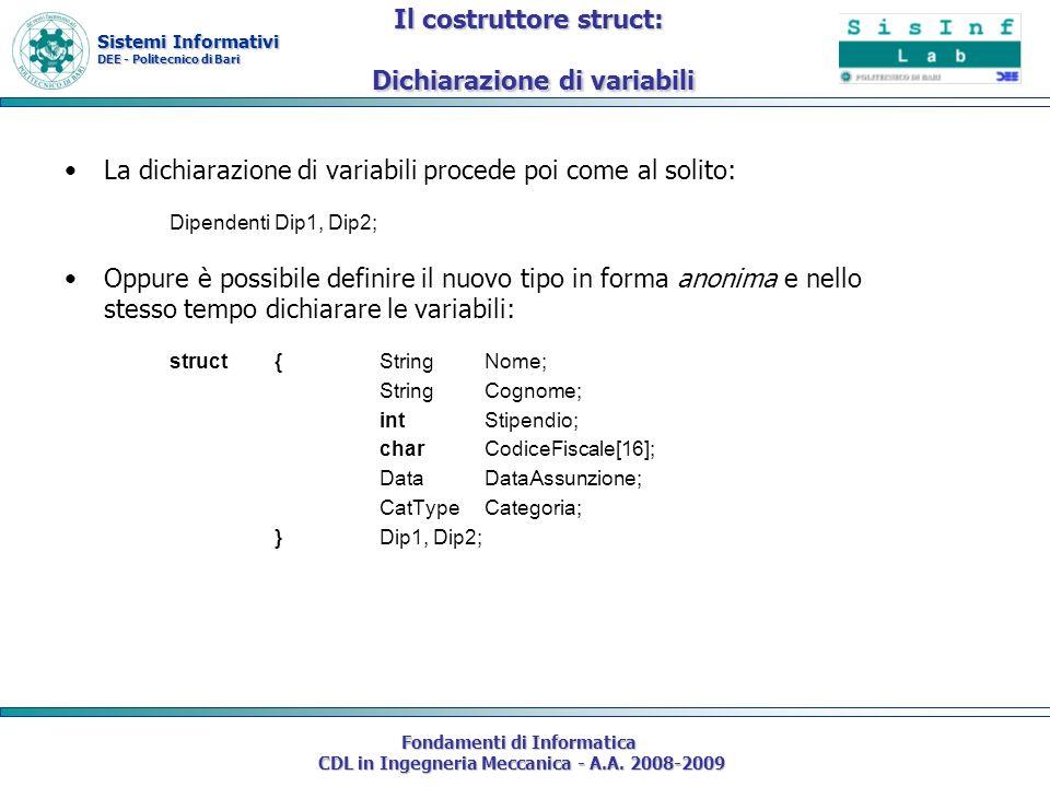 Sistemi Informativi DEE - Politecnico di Bari Fondamenti di Informatica CDL in Ingegneria Meccanica - A.A. 2008-2009 La dichiarazione di variabili pro