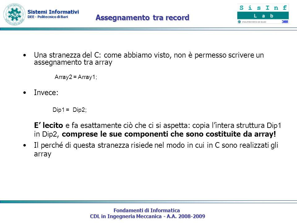 Sistemi Informativi DEE - Politecnico di Bari Fondamenti di Informatica CDL in Ingegneria Meccanica - A.A. 2008-2009 Assegnamento tra record Una stran