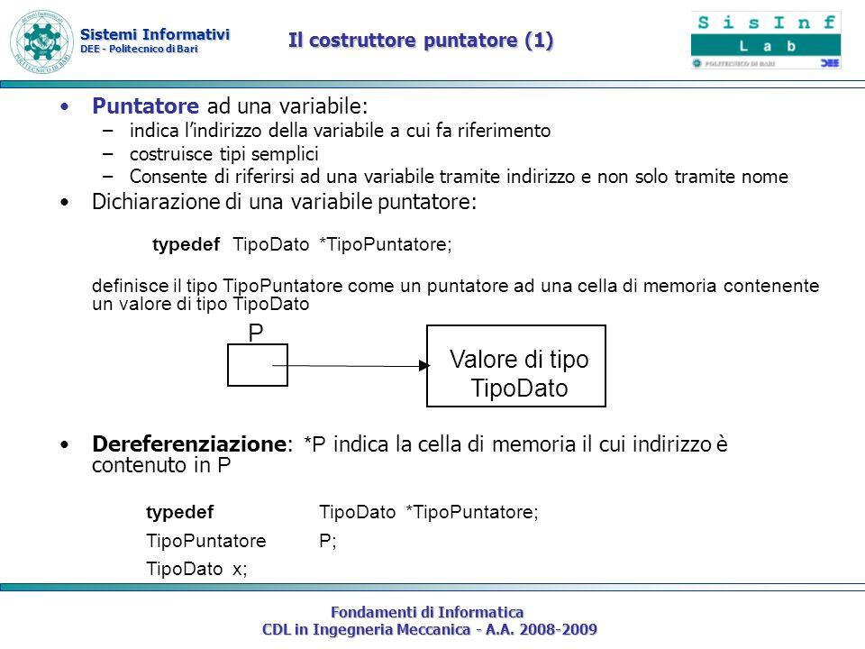 Sistemi Informativi DEE - Politecnico di Bari Fondamenti di Informatica CDL in Ingegneria Meccanica - A.A. 2008-2009 Il costruttore puntatore (1) Punt