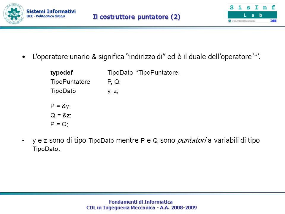 Sistemi Informativi DEE - Politecnico di Bari Fondamenti di Informatica CDL in Ingegneria Meccanica - A.A. 2008-2009 Il costruttore puntatore (2) Lope