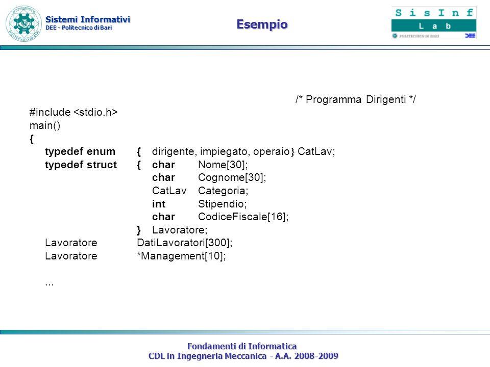 Sistemi Informativi DEE - Politecnico di Bari Fondamenti di Informatica CDL in Ingegneria Meccanica - A.A. 2008-2009 /* Programma Dirigenti */ #includ