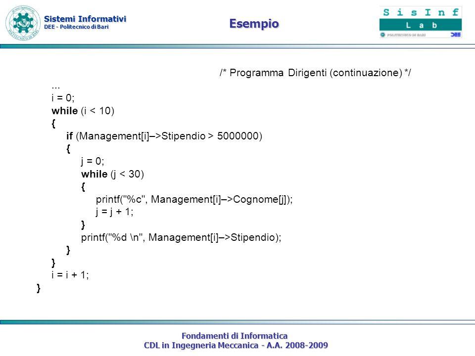 Sistemi Informativi DEE - Politecnico di Bari Fondamenti di Informatica CDL in Ingegneria Meccanica - A.A. 2008-2009 /* Programma Dirigenti (continuaz