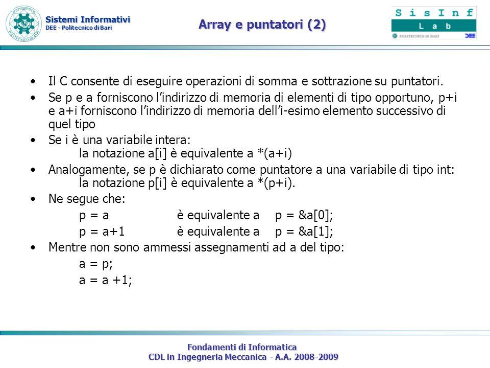 Sistemi Informativi DEE - Politecnico di Bari Fondamenti di Informatica CDL in Ingegneria Meccanica - A.A. 2008-2009 Array e puntatori (2) Il C consen