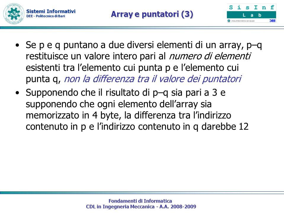 Sistemi Informativi DEE - Politecnico di Bari Fondamenti di Informatica CDL in Ingegneria Meccanica - A.A. 2008-2009 Array e puntatori (3) Se p e q pu