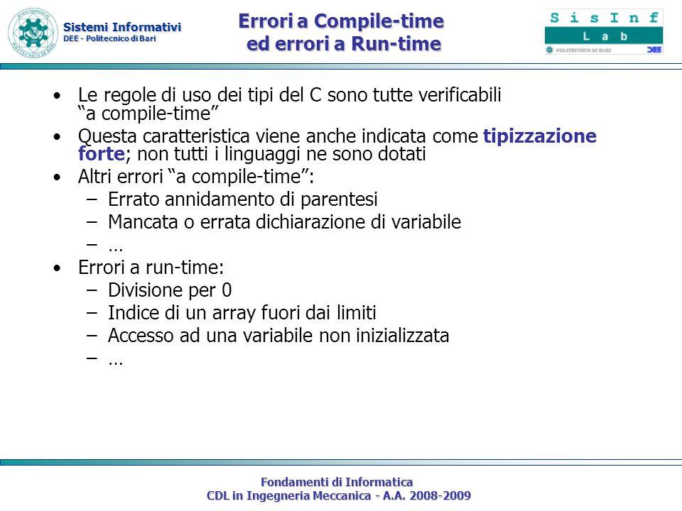 Sistemi Informativi DEE - Politecnico di Bari Fondamenti di Informatica CDL in Ingegneria Meccanica - A.A. 2008-2009 Errori a Compile-time ed errori a