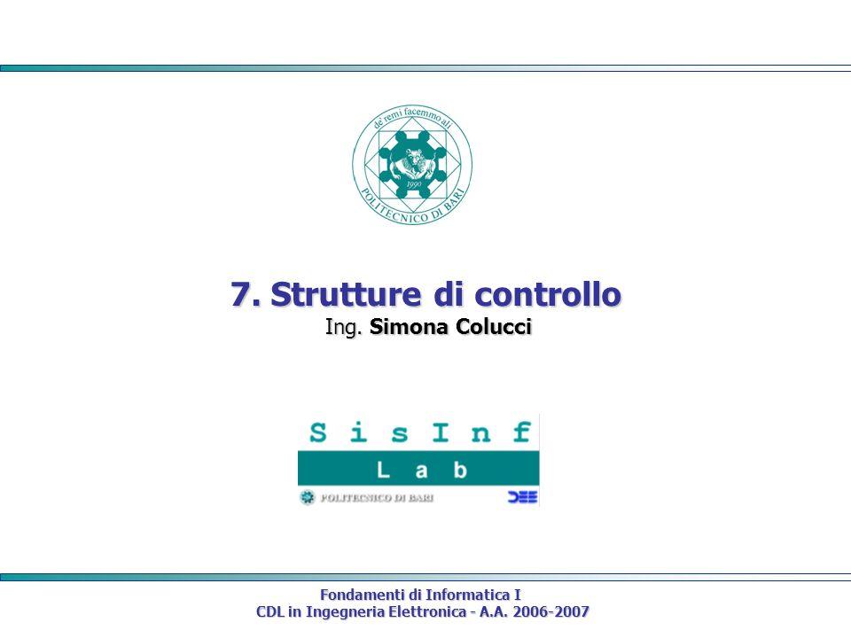 Fondamenti di Informatica I CDL in Ingegneria Elettronica - A.A.