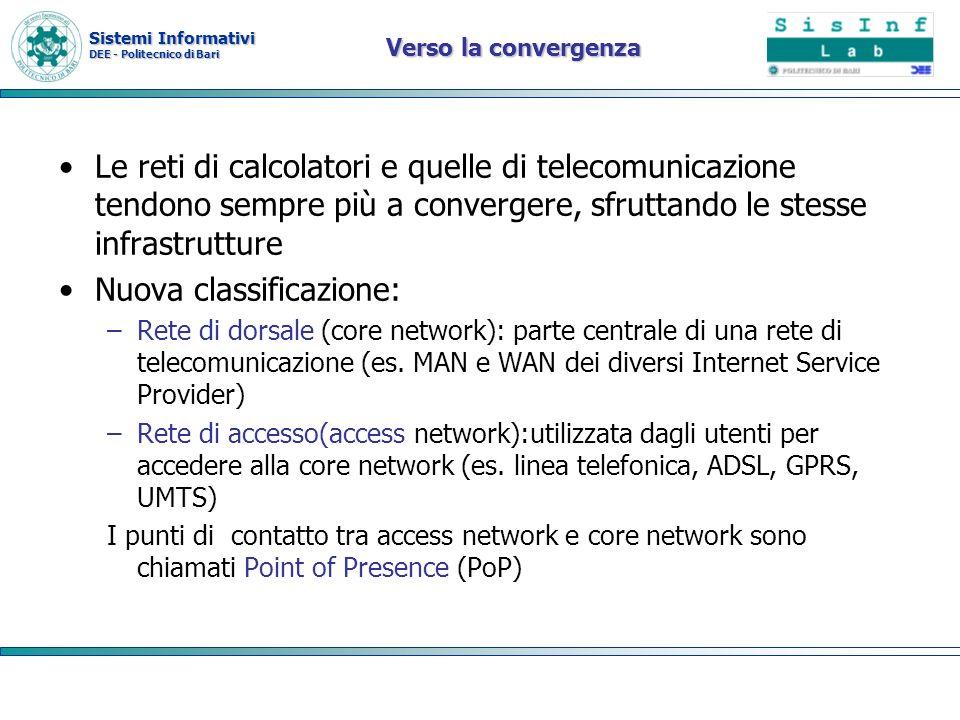 Sistemi Informativi DEE - Politecnico di Bari Verso la convergenza Le reti di calcolatori e quelle di telecomunicazione tendono sempre più a converger