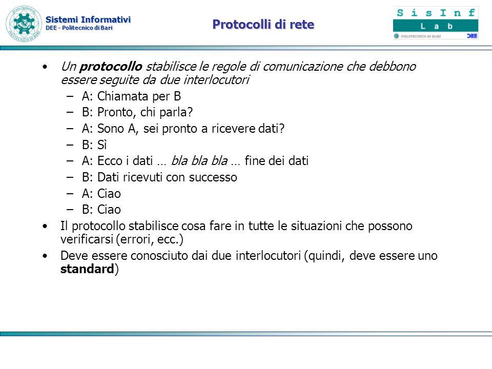 Sistemi Informativi DEE - Politecnico di Bari Protocolli di rete Un protocollo stabilisce le regole di comunicazione che debbono essere seguite da due