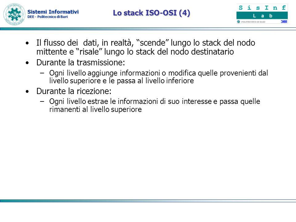 Sistemi Informativi DEE - Politecnico di Bari Il flusso dei dati, in realtà, scende lungo lo stack del nodo mittente e risale lungo lo stack del nodo
