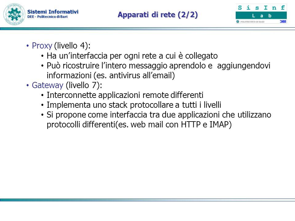 Sistemi Informativi DEE - Politecnico di Bari Apparati di rete (2/2) Proxy (livello 4): Ha uninterfaccia per ogni rete a cui è collegato Può ricostrui