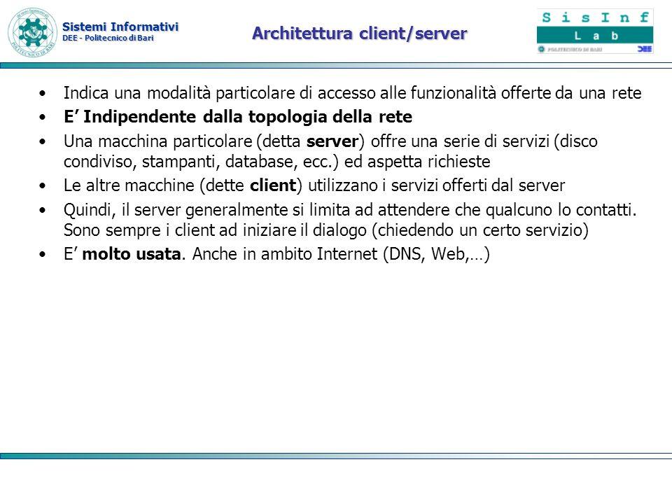 Sistemi Informativi DEE - Politecnico di Bari Architettura client/server Indica una modalità particolare di accesso alle funzionalità offerte da una r