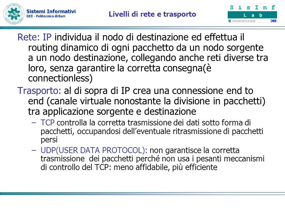 Sistemi Informativi DEE - Politecnico di Bari Livelli di rete e trasporto Rete: IP individua il nodo di destinazione ed effettua il routing dinamico d