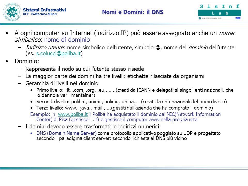 Sistemi Informativi DEE - Politecnico di Bari Nomi e Domini: il DNS A ogni computer su Internet (indirizzo IP) può essere assegnato anche un nome simb