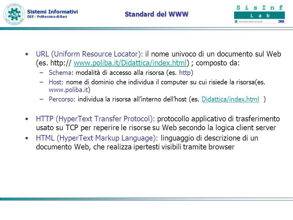 Sistemi Informativi DEE - Politecnico di Bari Standard del WWW URL (Uniform Resource Locator): il nome univoco di un documento sul Web (es. http:// ww