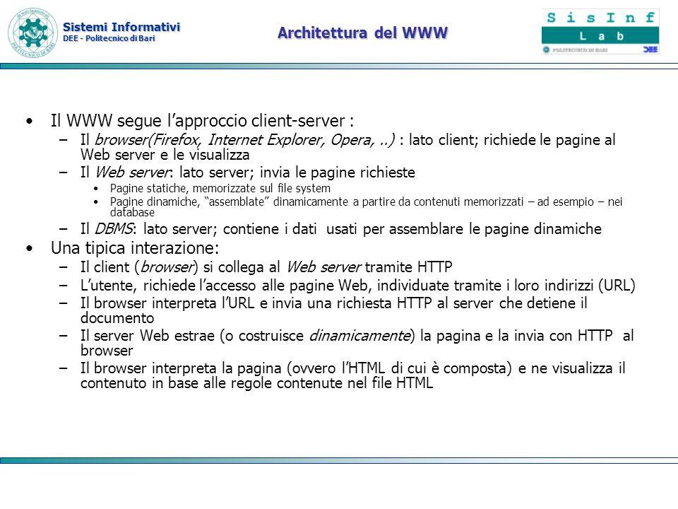Sistemi Informativi DEE - Politecnico di Bari Architettura del WWW Il WWW segue lapproccio client-server : –Il browser(Firefox, Internet Explorer, Ope