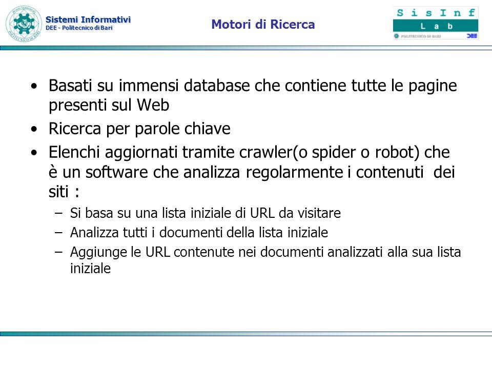 Sistemi Informativi DEE - Politecnico di Bari Motori di Ricerca Basati su immensi database che contiene tutte le pagine presenti sul Web Ricerca per p