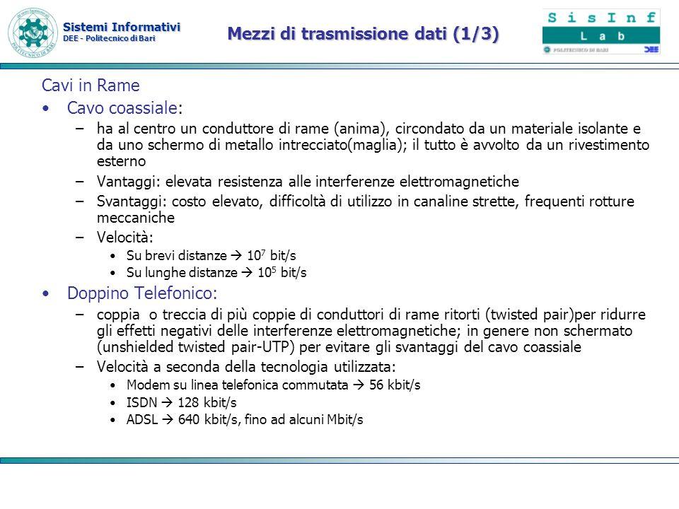 Sistemi Informativi DEE - Politecnico di Bari Mezzi di trasmissione dati (1/3) Cavi in Rame Cavo coassiale: –ha al centro un conduttore di rame (anima