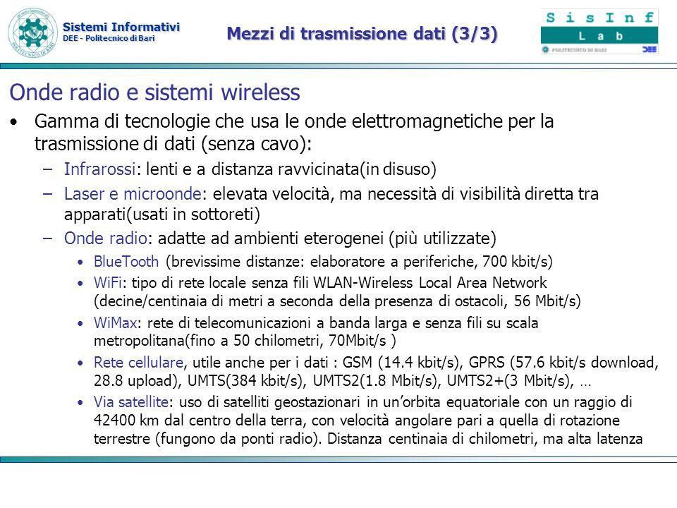 Sistemi Informativi DEE - Politecnico di Bari Mezzi di trasmissione dati (3/3) Onde radio e sistemi wireless Gamma di tecnologie che usa le onde elett