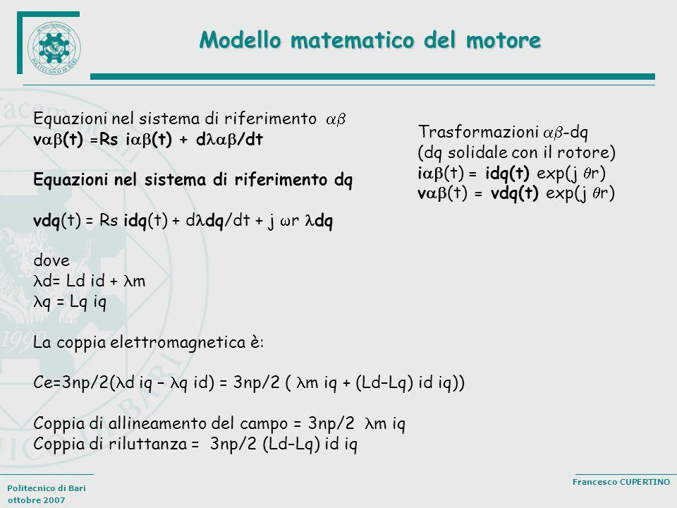 Politecnico di Bari ottobre 2007 Francesco CUPERTINO Modello matematico del motore Equazioni nel sistema di riferimento v (t) =Rs i (t) + d /dt Equazi