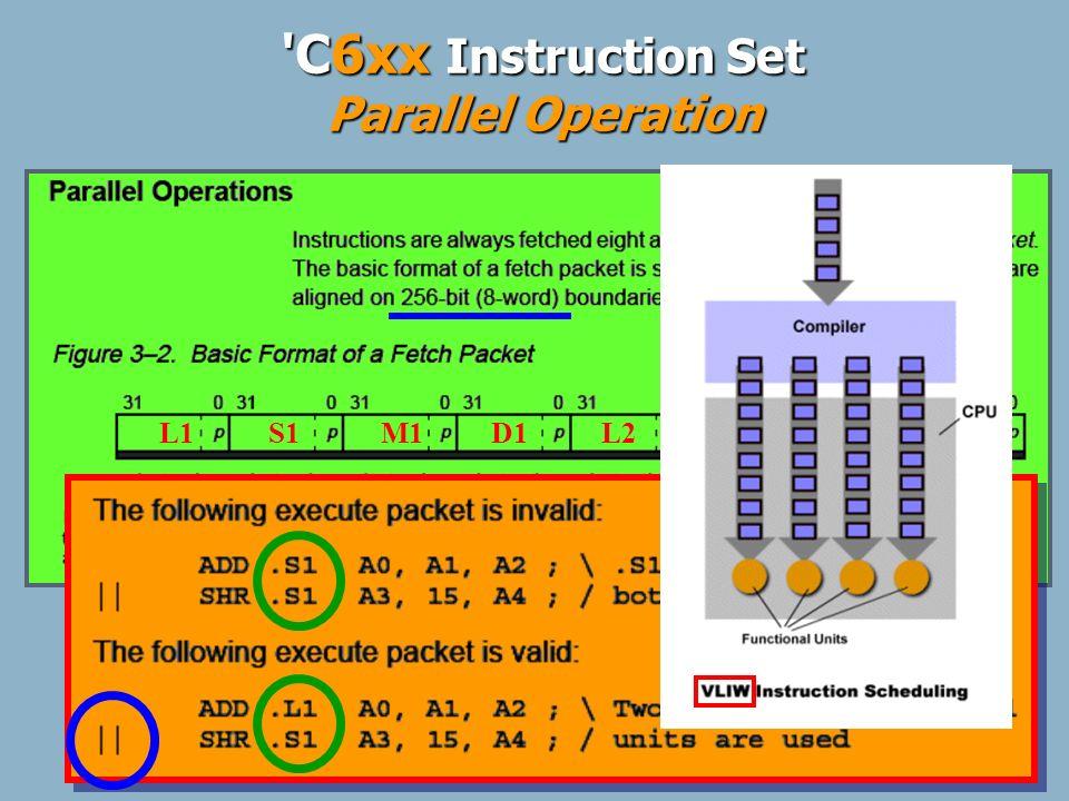5 Arithmetic ABS ADD ADDA ADDK ADD2 MPY MPYH NEG SMPY SMPYH SADD SAT SSUB SUB SUBA SUBC SUB2 ZERO Program Ctrl B IDLE NOP Logical AND CMPEQ (=) CMPGT (>) CMPLT ( >) SSHL XOR Data Mgmt LDB/H/W MV MVC MVK MVKL MVKH MVKLH STB/H/W Bit Mgmt CLR EXT LMBD NORM SET Note: Refer to the C6000 CPU Reference Guide for more details.