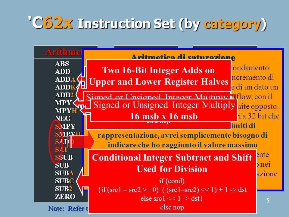6 C62x Instruction Set (by unit).S Unit MVKLH NEG NOT OR SET SHL SHR SSHL SUB SUB2 XOR ZERO ADD ADDK ADD2 AND B CLR EXT MV MVC MVK MVKL MVKH.M Unit SMPY SMPYH MPY MPYH.L Unit NOT OR SADD SAT SSUB SUB SUBC XOR ZERO ABS ADD AND CMPEQ CMPGT CMPLT LMBD MV NEG NORM.D Unit STB/H/W SUB SUBA ZERO ADD ADDA LDB/H/W MV NEG Other IDLENOP Note: Refer to the C6000 CPU Reference Guide for more details.