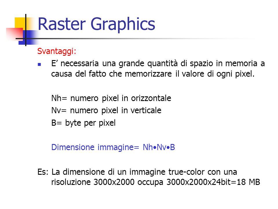 Raster Graphics Svantaggi: E necessaria una grande quantità di spazio in memoria a causa del fatto che memorizzare il valore di ogni pixel. Nh= numero