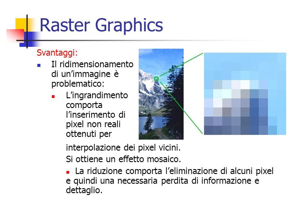 Raster Graphics Svantaggi: Il ridimensionamento di unimmagine è problematico: Lingrandimento comporta linserimento di pixel non reali ottenuti per int