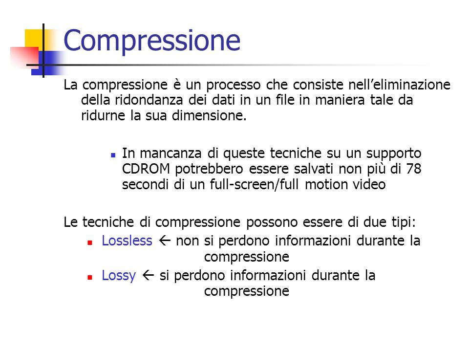Compressione La compressione è un processo che consiste nelleliminazione della ridondanza dei dati in un file in maniera tale da ridurne la sua dimens