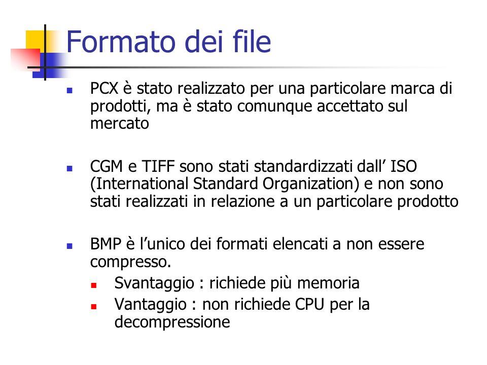 Formato dei file PCX è stato realizzato per una particolare marca di prodotti, ma è stato comunque accettato sul mercato CGM e TIFF sono stati standar
