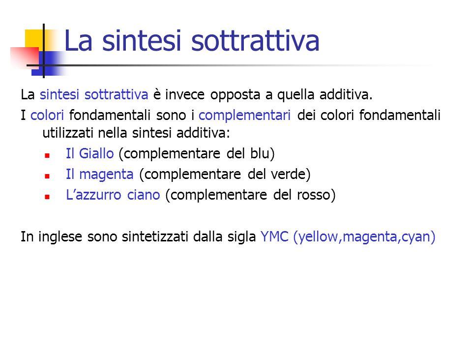 La sintesi sottrattiva La sintesi sottrattiva è invece opposta a quella additiva. I colori fondamentali sono i complementari dei colori fondamentali u