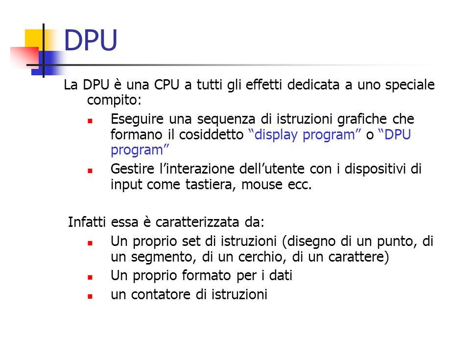 DPU La DPU è una CPU a tutti gli effetti dedicata a uno speciale compito: Eseguire una sequenza di istruzioni grafiche che formano il cosiddetto displ