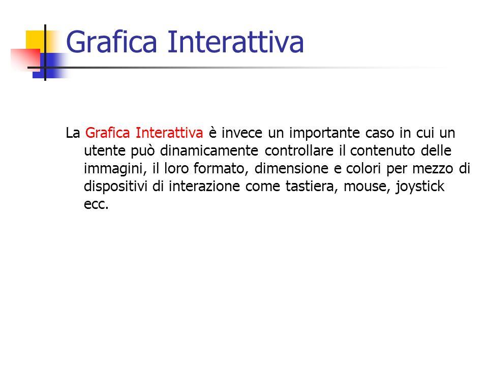 Grafica Interattiva La Grafica Interattiva è invece un importante caso in cui un utente può dinamicamente controllare il contenuto delle immagini, il