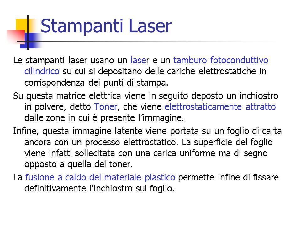 Stampanti Laser Le stampanti laser usano un laser e un tamburo fotoconduttivo cilindrico su cui si depositano delle cariche elettrostatiche in corrisp