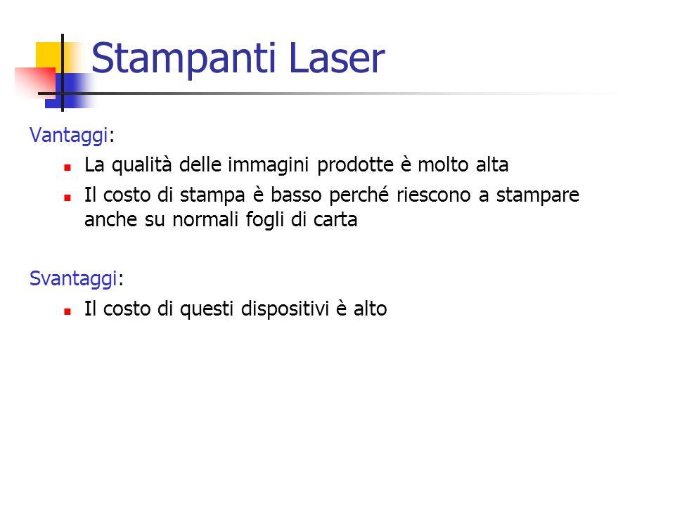 Stampanti Laser Vantaggi: La qualità delle immagini prodotte è molto alta Il costo di stampa è basso perché riescono a stampare anche su normali fogli