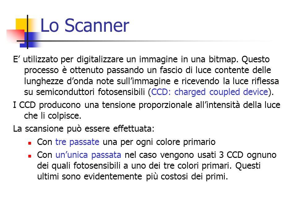 Lo Scanner E utilizzato per digitalizzare un immagine in una bitmap. Questo processo è ottenuto passando un fascio di luce contente delle lunghezze do