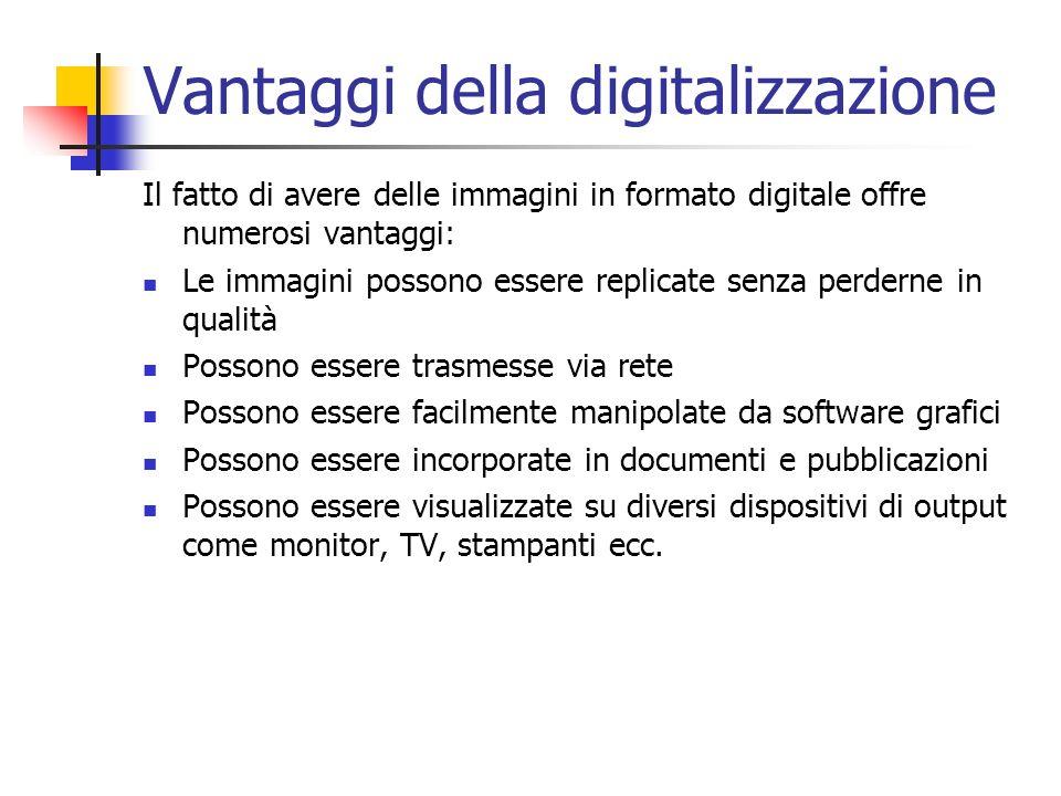 Vantaggi della digitalizzazione Il fatto di avere delle immagini in formato digitale offre numerosi vantaggi: Le immagini possono essere replicate sen