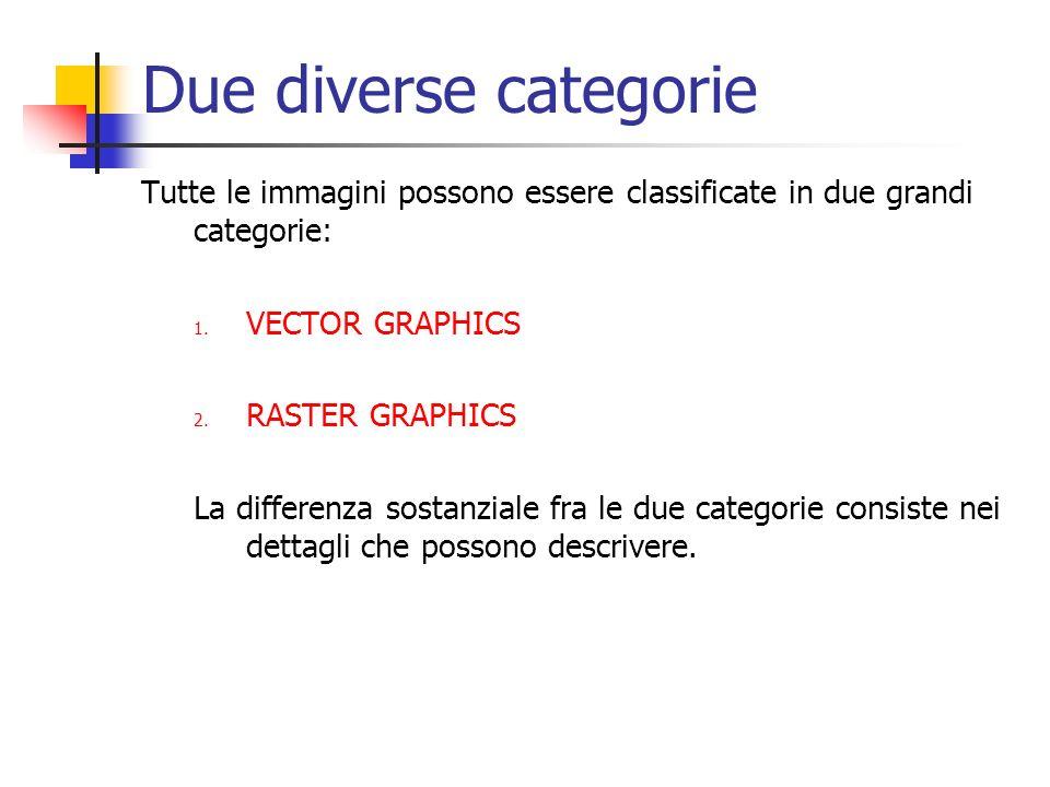Due diverse categorie Tutte le immagini possono essere classificate in due grandi categorie: 1. VECTOR GRAPHICS 2. RASTER GRAPHICS La differenza sosta