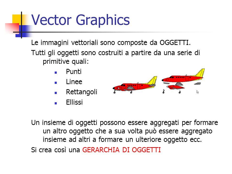 Vector Graphics Le immagini vettoriali sono composte da OGGETTI. Tutti gli oggetti sono costruiti a partire da una serie di primitive quali: Punti Lin