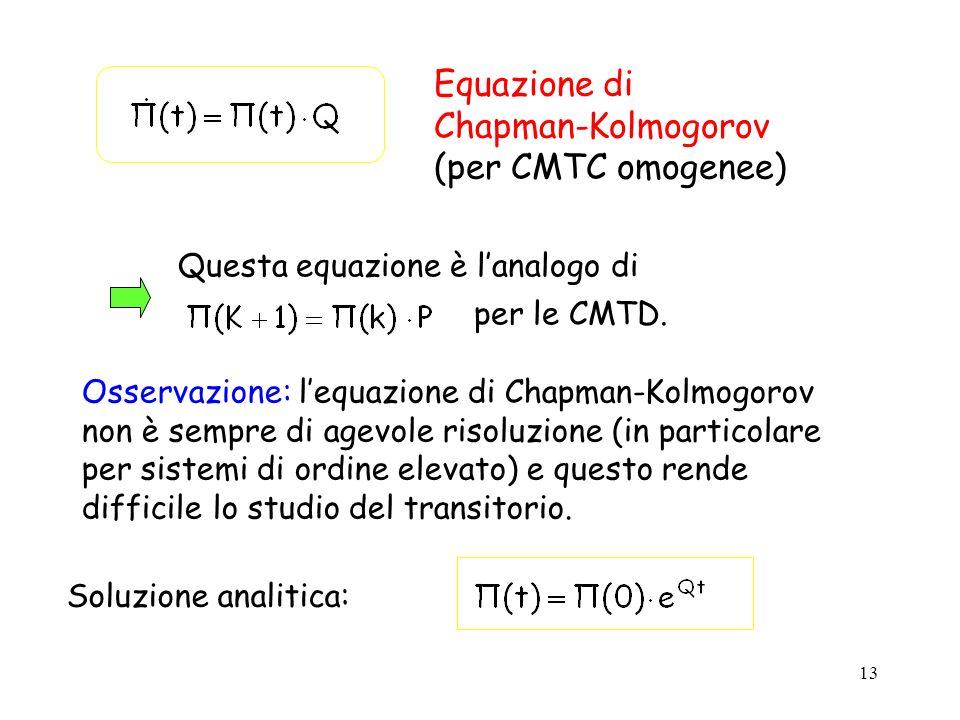 13 Questa equazione è lanalogo di per le CMTD. Osservazione: lequazione di Chapman-Kolmogorov non è sempre di agevole risoluzione (in particolare per
