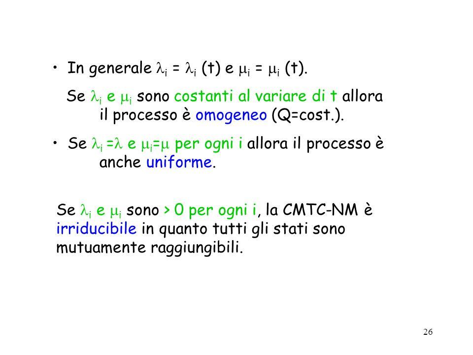 26 In generale i = i (t) e i = i (t). Se i e i sono costanti al variare di t allora il processo è omogeneo (Q=cost.). Se i = e i = per ogni i allora i