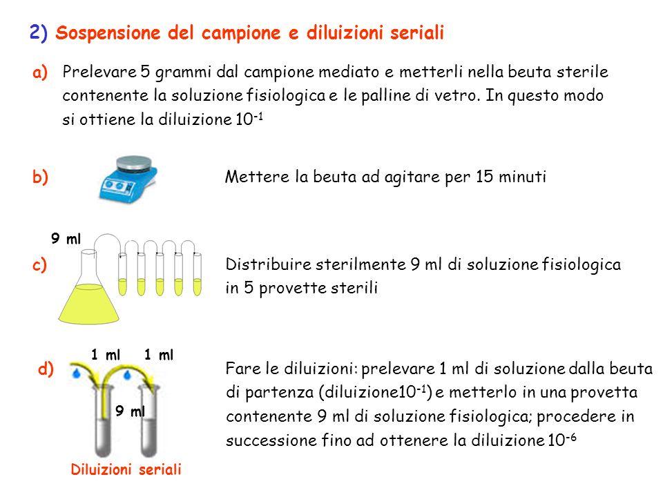 a) Prelevare 5 grammi dal campione mediato e metterli nella beuta sterile contenente la soluzione fisiologica e le palline di vetro. In questo modo si