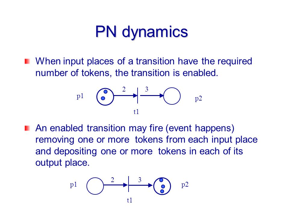 When input places of a transition have the required number of tokens, the transition is enabled. An enabled transition may fire (event happens) removi